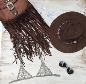 chain bra, tassle bag and fedora splendour clothes