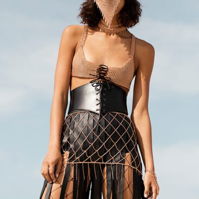 burning man x mad max festival fashion photo shoot chain mail metal bra