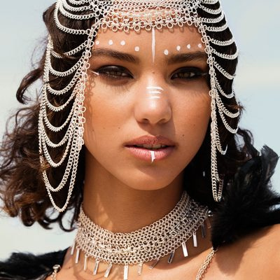 burning man x mad max festival fashion photo shoot, headpiece chain