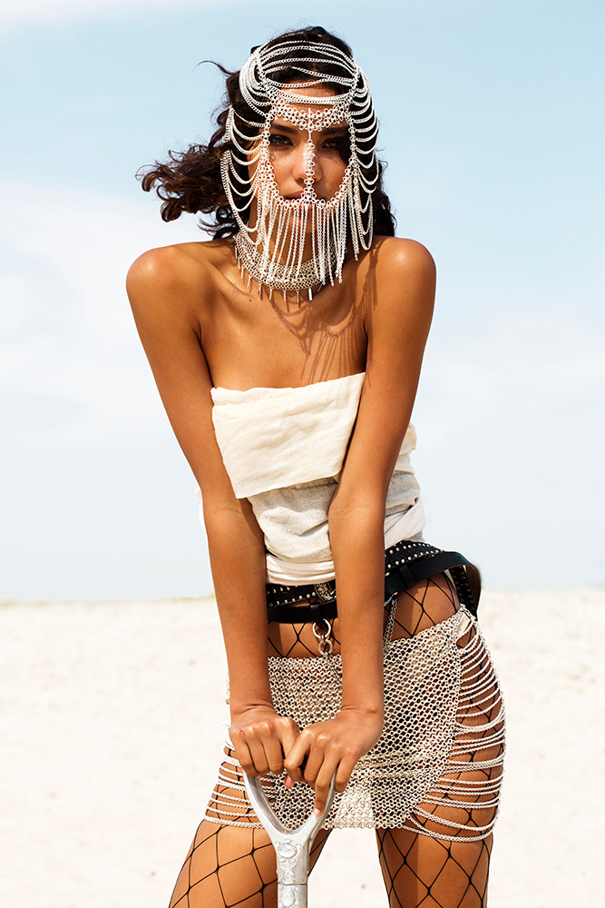 chain mail metal skirt, burning man x mad max festival fashion photo shoot