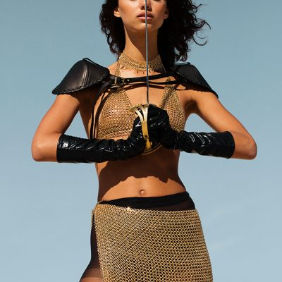 burning man x mad max festival fashion photo shoot with chain mail skirt and bra