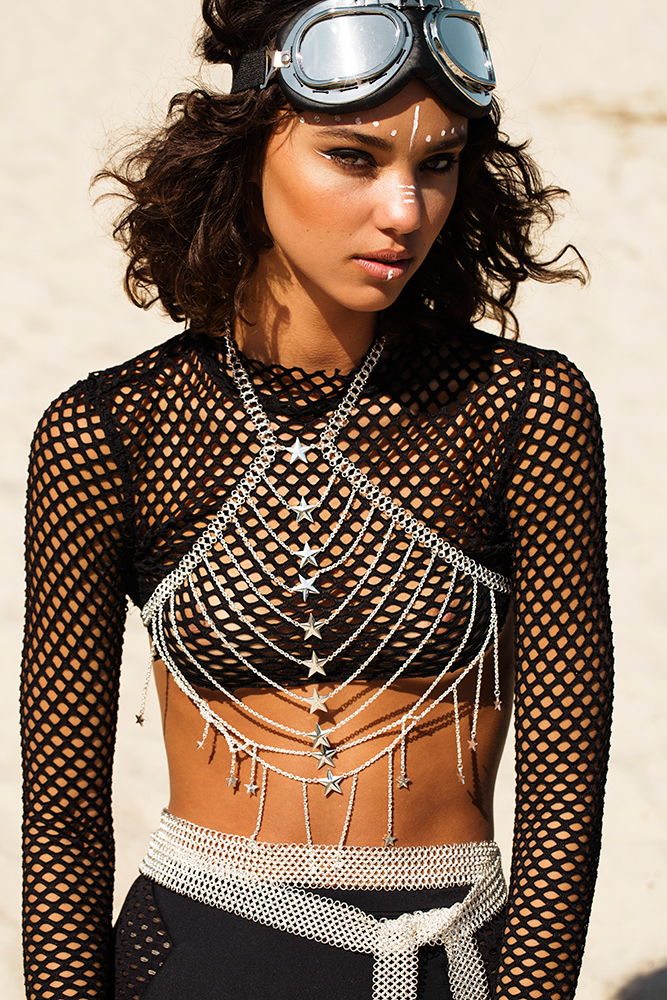 abbey star body chain festival fashion photo shoot, burning man x mad max style