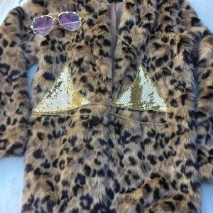 Burning man festival ready.Loving the leopard faux fur, add some bling with our mesh Iggy bra and some cool shades.