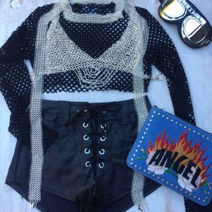 A sneak look at our new chain mail bralette crop. Layered with the new chain mail scarf. Add some hot pants, a fishnet top, and don't forget the googles! Burning man festival inspiration.